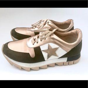 High Heeled Rose Golden Sneakers